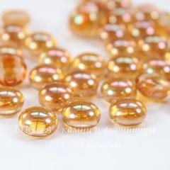 Бусина Candy Кабошон с 2 отверстиями, 8 мм, оранжевая с радужным отливом