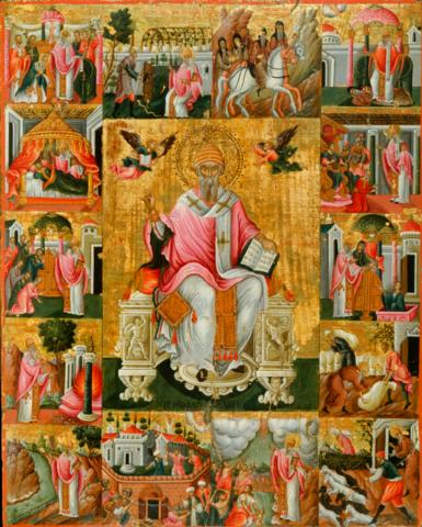 Икона святой Спиридон Тримифунтский на дереве на левкасе с клеймами жития мастерская Иконный Дом