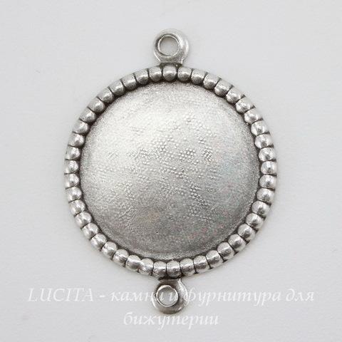 Сеттинг - основа - коннектор (1-1) для камеи или кабошона 14 мм (оксид серебра) ()