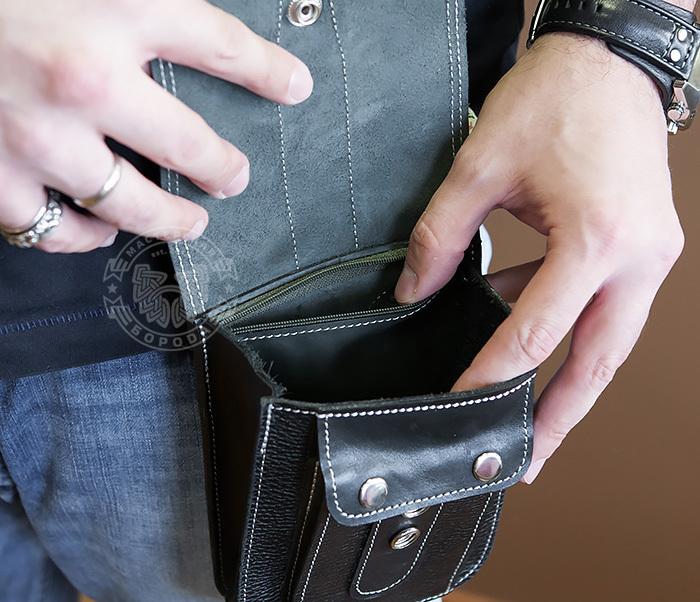 BAG379-1 Мужская сумка на пояс из натуральной кожи, ручная работа фото 10