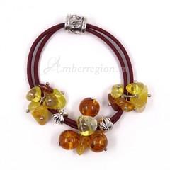 Резинка-браслет с янтарем