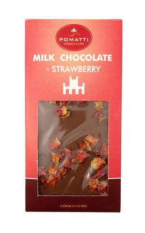 Шоколад молочный с клубникой