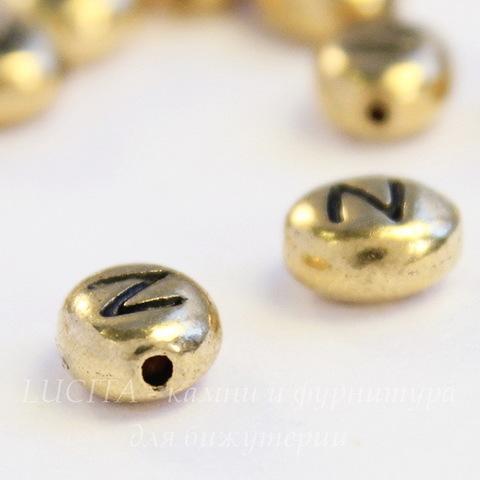 "Бусина овальная TierraCast ""Буква N"" 7х6х3 мм (цвет-античное золото)"