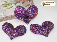 Мягкое блестящее сердце малиновое №4