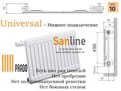 Радиатор Prado Universal Тип 10x500x400 Нижняя подводка