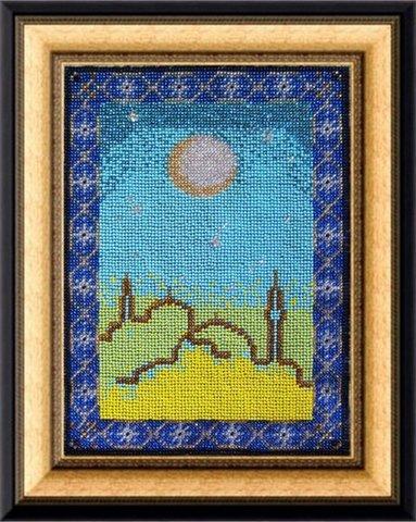Тема: Религия, восток¶Техника: Вышивание бисером. Полная зашивка.¶Размер: 19х26 см¶Основа: Ткань (хл