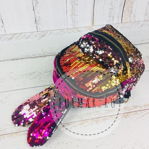 Рюкзак с пайетками и ушами зайца Розово-Золотистый