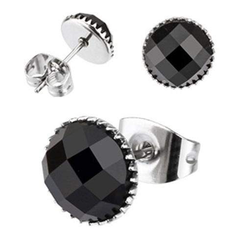 Серьги из стали с чёрным камнем SPIKES SER110-7K