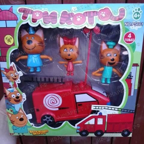Котята с пожарной машиной