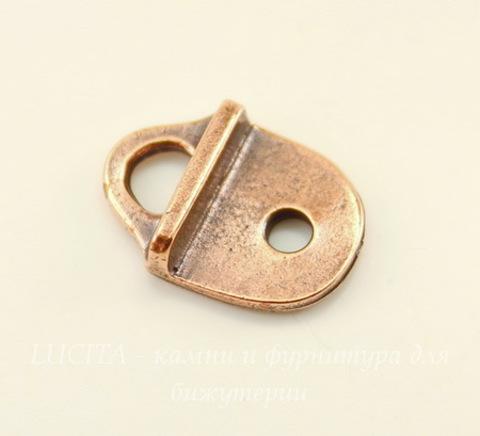 """Концевик для плоского шнура TierraCast """"Геометрия"""" (цвет-античная медь) 16х12 мм"""