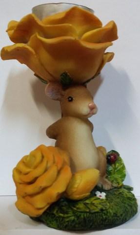 Подсвечник со свечой Мышка с розой, полистоун 12 см