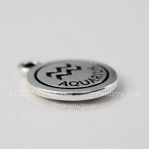 """Подвеска TierraCast знак зодиака """"Водолей"""" (цвет-античное серебро) 19х15 мм"""