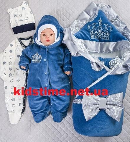 Набор на выписку из роддома зимний Excellent велюр синие звезды