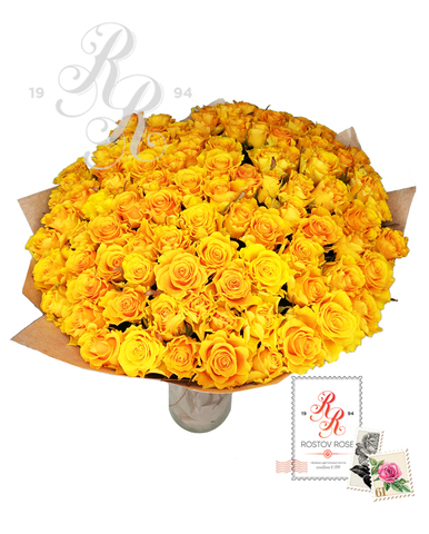 Букет 101 местная желтая роза