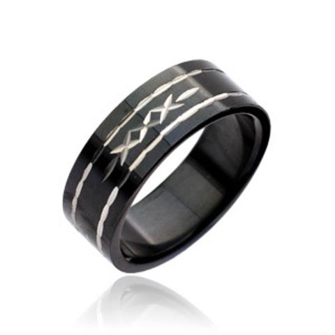 Кольцо женское чёрное, Сталь, SPIKES R7042