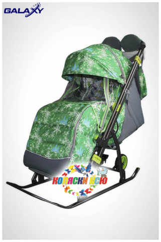 Санки коляска GALAXY KIDS 3-1 «елки на зелёном»