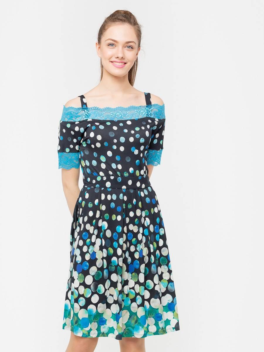 Платье З174-421 - Трикотажное платье приталенного силуэта с расклешенной юбкой. Края рукавов и горловины обработаны ярким кружевом в тон основного принта. В комплекте пояс из репсовой ленты в тон кружева. Платье невероятно комфортное и стильное, отлично подойдет на каждый день