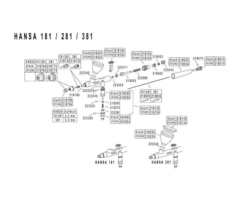 Аэрограф Hansa 281 chrom