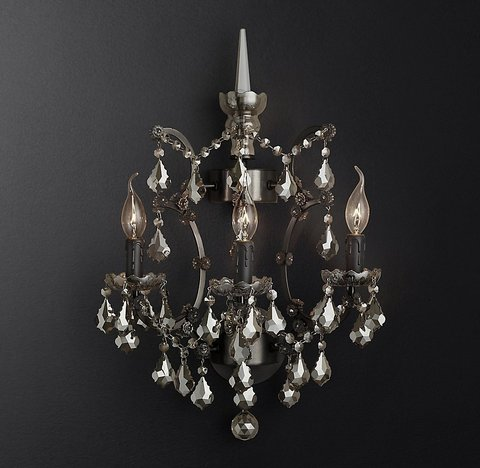 19th C. Rococo Iron & Smoke Crystal Sconce