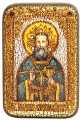 Инкрустированная Икона Святой праведный Иоанн Кронштадтский 15х10см на натуральном дереве, в подарочной коробке