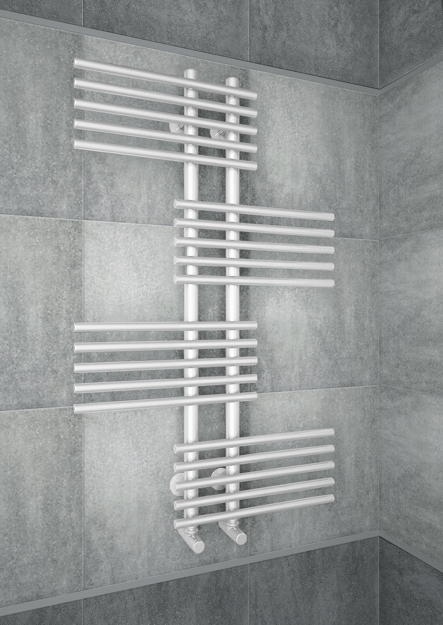 Europa - оригинальный водяной дизайн полотенцесушитель белого цвета.
