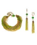 Комплект украшений из бисера зелено-золотистый (серьги из бисера, бисерный браслет)