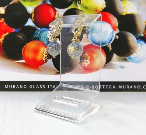 Серьги из муранского стекла со стразами Sandra Ca'D'oro Sapfir Gold 056O