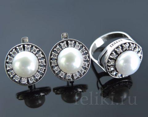 комплект серебряный кольцо и серьги с жемчугом