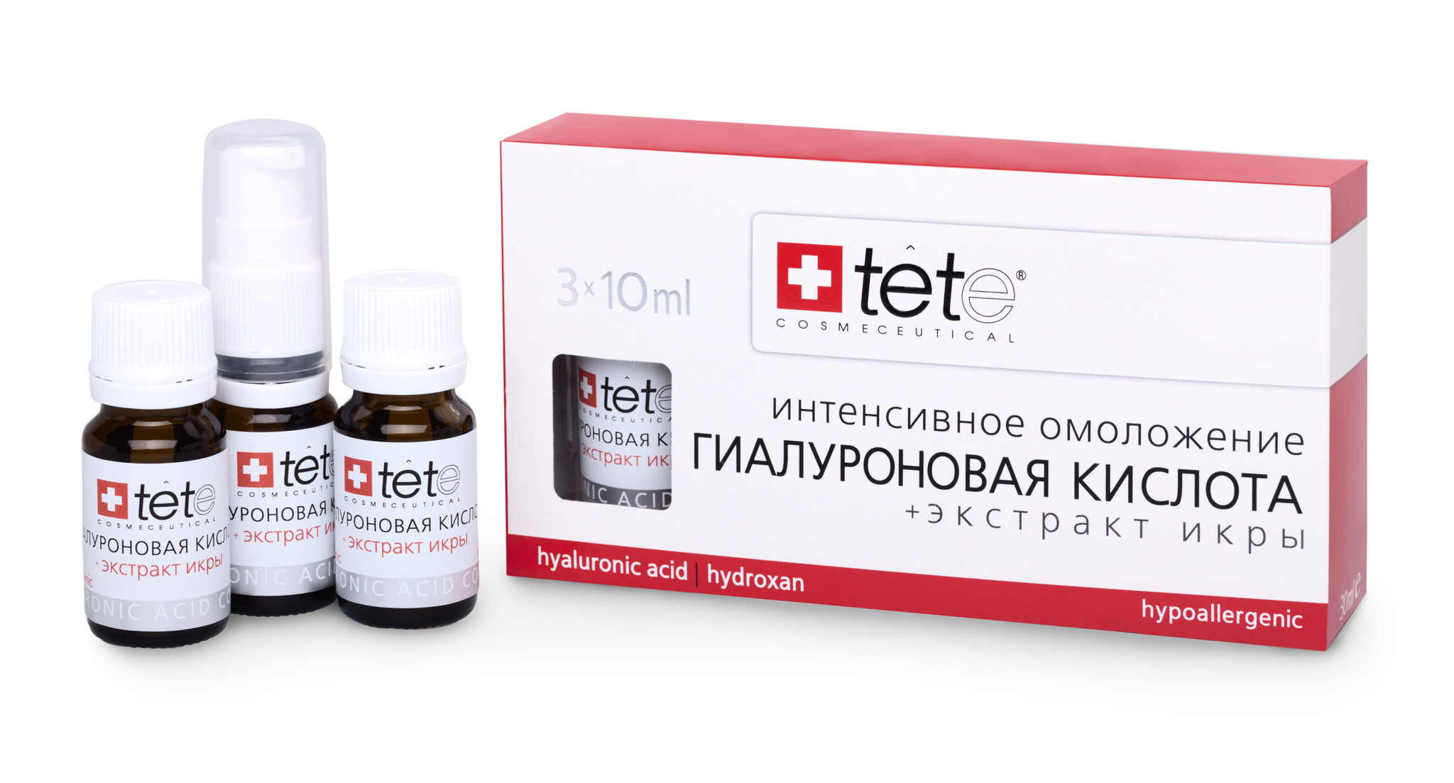 Гиалуроновая кислота + Экстракт икры /TETe Hyaluronic acid & Caviar Extract 3*10 ml