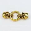 "Замок для шнура 11х6 мм из 3х частей ""Черепа"", 58х25 мм (цвет - античное золото)"