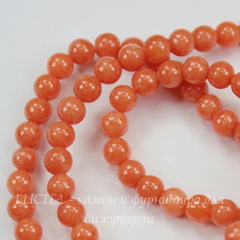 Бусина Жадеит (тониров), шарик, цвет - морковный, 4 мм, нить