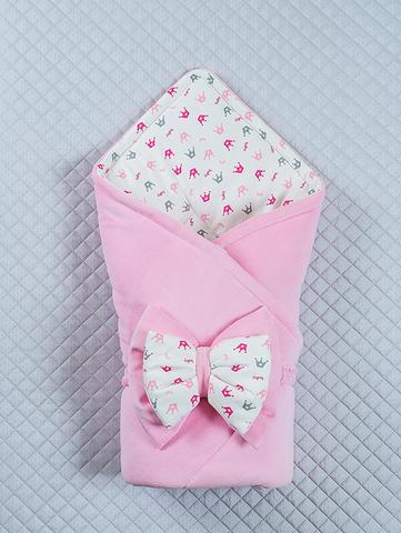 Велюровый конверт одеяло Короны (розовый)