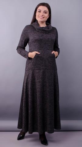 Селфи. Платье макси для женщин плюс сайз. Графит.