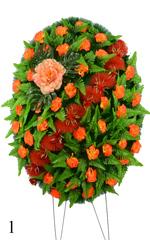 Венок украшенный цветами гвоздик и пионом