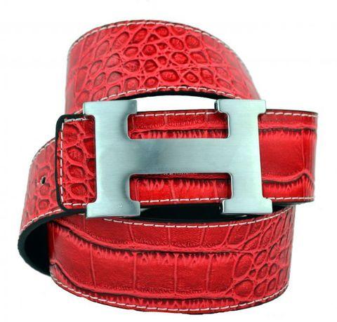 Модный оригинальный брендовый мужской джинсовый прошитый красный ремень HERMES (Гермес) 40 мм из искусственной кожи под крокодила 40brend-KZ-067 с матовой пряжкой