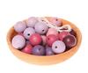 30 деревянных бусин, цветовая гамма фиолетово-розовая, 20 мм