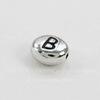 """Бусина овальная TierraCast """"Буква B"""" 7х6х3 мм (цвет-античное серебро)"""