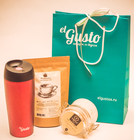 Набор «Подарочный» чай, термокружка и мед-суфле