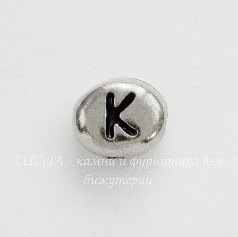 """Бусина овальная TierraCast """"Буква K"""" 7х6х3 мм (цвет-античное серебро)"""