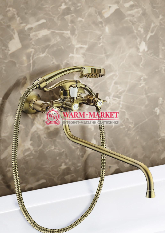 Elg Bronze 012 - бронзовый смеситель для ванны с душевым комплектом