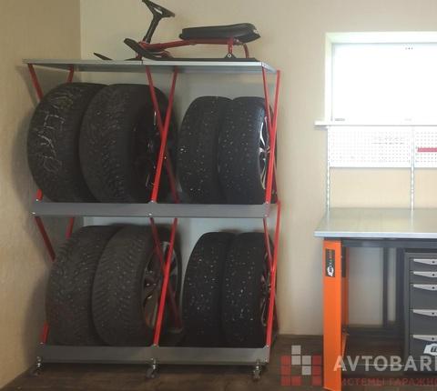 Напольный металлический стеллаж для хранения 2 комплектов колес