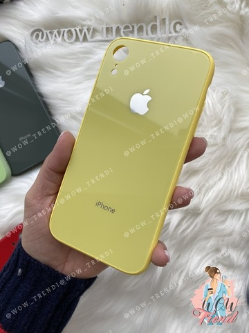 Чехол iPhone XR Glass Pastel color Logo /yellow/