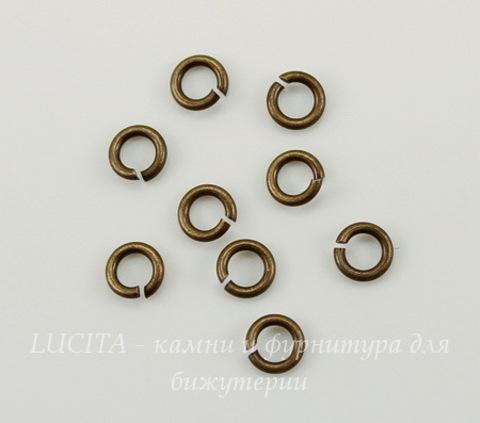 Винтажное колечко одинарное 3,5х0,6 мм (оксид латуни), 10 шт