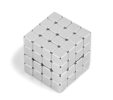 Магнит 5х5х5 мм, N38, никель, неодимовый блок