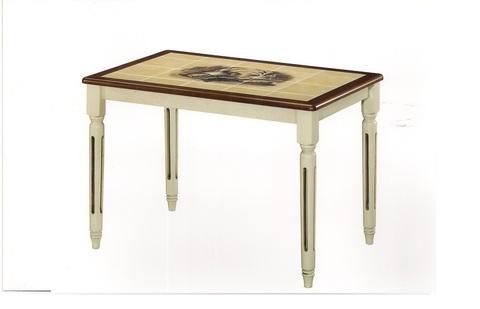 Стол обеденный CT 3045 Дубай с плиткой прямоугольный деревянный  темный дуб/ античный белый