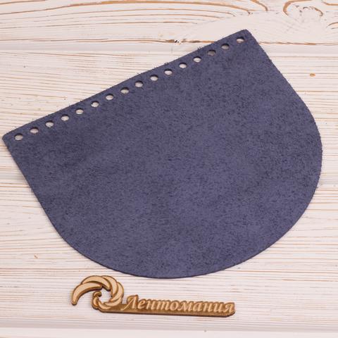 "Клапан для сумочки кожаный ""Темно-синий"" 19*16 см"