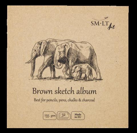 Альбом SM-LT Layflat Brown 135г/м2 14х14см 32л серая бумага