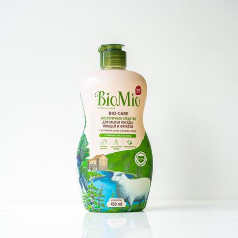 Средство для мытья посуды с эфирным маслом мяты BioMio, 450 мл