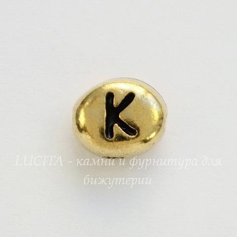 "Бусина овальная TierraCast ""Буква K"" 7х6х3 мм (цвет-античное золото)"