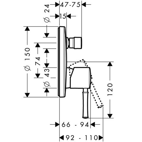 Смеситель для ванны встроенный Hansgrohe Talis Classic  14145000 схема